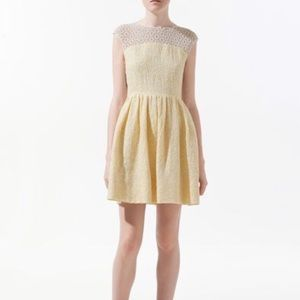 Zara Crochet Floral Tweed Dress in Pale Yellow